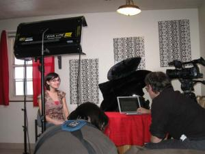 Marsh being filmed in her apartment.