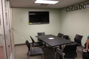 Caitlin Dee photo: The Collaboration Zone is located on the second floor of the Hammermill Library and is dedicated to group projects.