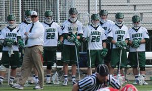 Sarah Hlusko photo: Coach Chris Ryan, left, and the men's lacrosse team are off to a solid 5-0 start, but they don't plan on slowing down anytime soon. After their comeback win over No. 3 Dowling, the Lakers have another tough match-up against rival C.W. Post.