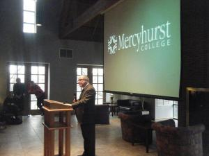 Joe Pudlick photo: President Thomas Gamble, Ph.D., announced that Mercyhurst was approved for university status.