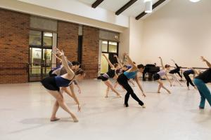 Sarah Hlusko photo: Students of all levels take class in the Dance Space from upper level dance majors.
