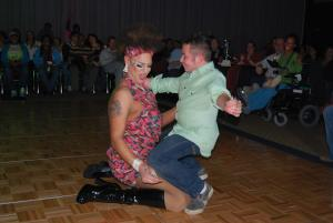 Eric Dye/The Behrend Beacon photo: Behrend junior Earl Kunsman gets into the act with Drag queen Glitter Trix.