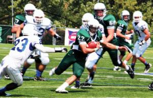 Jill Barrile photo: Sophomore Ricky Mathews ran for 92 yards, in his first collegiate start, helping Mercyhurst to a 24-23 win to open the 2011 season.