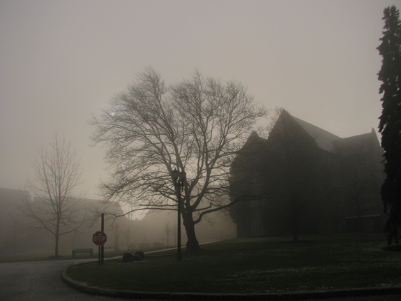 Merciad photo: Egan Hall and Old Main are obscured by a layer of fog Thursday, April 7, 2011, at Mercyhurst College.