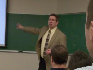 Ethan Johns photo: Deception expert Frank Marsh spoke to Mercyhurst College Intelligence students on Saturday, March 20.