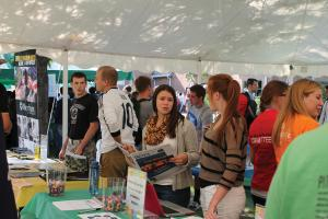 Selina Bowe photo: Students, both old and new, ran and visited booths at this past Friday's Campus Involvement Fair.