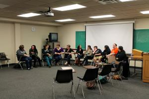Saline Bowe photo: The LGBTQIA club gets together in Sullivan Hall.
