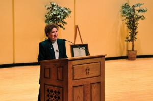 Tyler Stauffer photo: Sister Marilyn Lacey received the Archbishop Oscar Romero Award at Mercyhurst College on Tuesday, March 9.