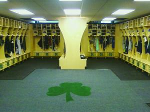 Samantha Bante Photo: The new lacrosse locker rooms contain a locker for each player to store their equipment.