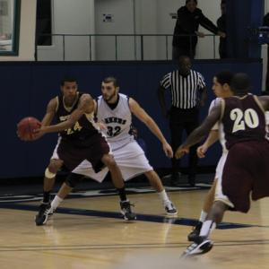 Jill Barrile photo: Junior Luis Leao has been welcomed back with open arms by the men's basketball team. After missing the start of the season after tearing his ACL, he has averaged 15 points since his return.
