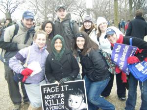 Gretchen Beth Yori (center) with other students at Washington, D.C. March for Life event.