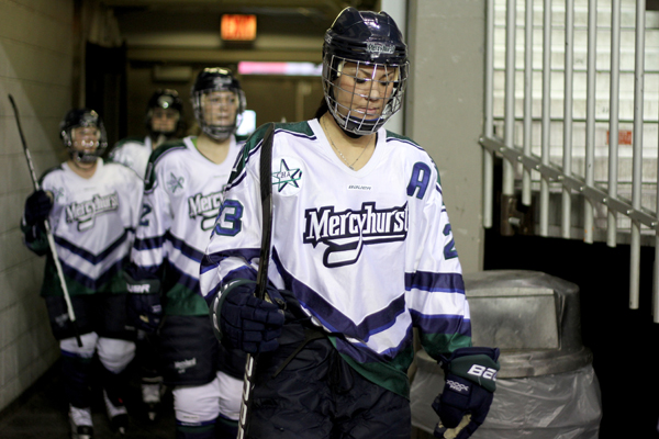 Photo by Ethan Magoc/The Merciad: Mercyhurst College's Jesse Scanzano (23) walks out of the locker room runway for the second period on Friday, Jan. 14, 2011 at Tullio Arena. During the second period, she scored a goal to became the third player in program history to reach 200 points.