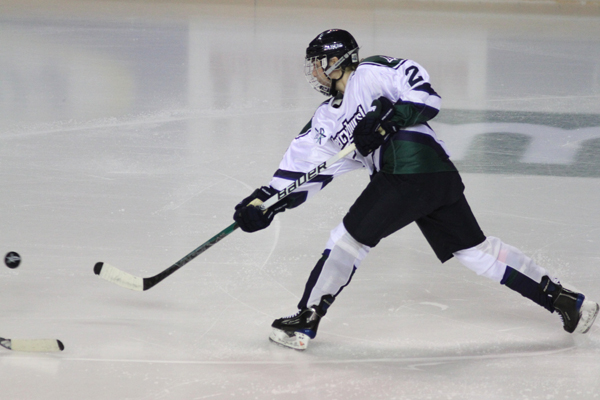 Photo by Ethan Magoc/The Merciad: Mercyhurst College's Samantha Watt fires a slapshot during the second period against Brown University on Friday, Jan. 14, 2011 at Tullio Arena.