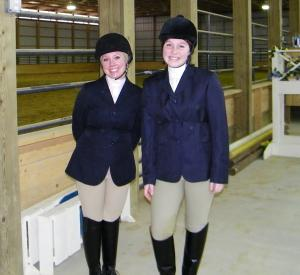 Contributed photo: Haley Mascellino, left, and Caitlin Birmingham, right, are the lone members of the Mercyhurst Equestrian Club.