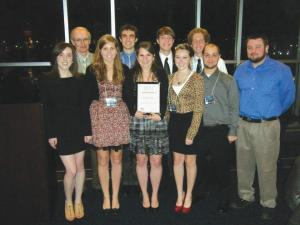 Contributed photo: Back row: Adviser Dennis Lebec, juniors Aaron Loncki, Matt Teleha and Joe Pudlick. Front row: seniors Victoria Gricks, Kelly Luoma, Alaina Rydzewski, Courtney Clair and juniors Brady Greenawalt and Joe Chiodo. The NBS chapter won the 2010-11 Chapter of the Year award.