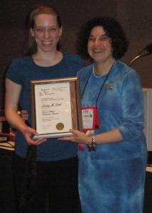 Lindsey Smith, with National Dance Association (NDA) Interim President Marcey Siegel, after receiving the Student Literary Award.