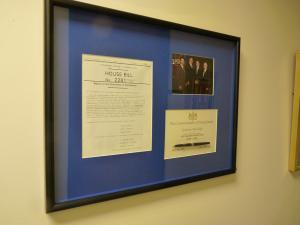 Sami Rapp photo: A variety of papers from Ridge's time as governor of Pennsylvania are featured among other memorabilia included in the donation to the Hammermill Library at the Mercyhurst main campus, where they are displayed on the fourth level of the library.
