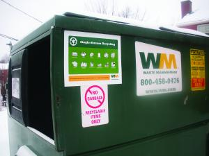 Jill Barrile: Bins for recycling are located across the Mercyhurst campus.