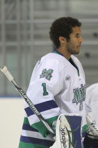 Ethan Magoc file photo: Mercyhurst freshman goaltender Jordan Tibbett.