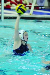 Tyler Stauffer photo: Senior Rachel Griepsma leads the offensive attack for the women's water polo team.