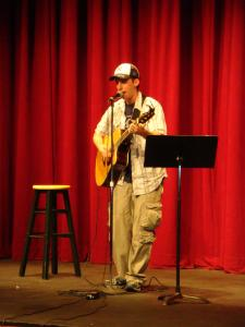 Contributed photo: Comedian Evan Wecksell performed in Taylor Little Theatre on Friday, Sept. 11. He combined elements of comedy and improvisation with music.