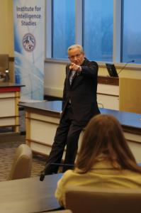 Zach Dorsch photo: Bob Woodward speaks to students about journalism and current events Wednesday at the CAE board room.