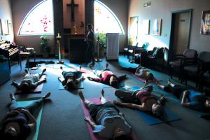 Jill Barrile photo: Yoga classes offered throughout the week help to reduce the stress and anxiety that college often presents to students.