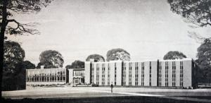 Merciad file photo: This 1965 architectural rendering shows the original plans for the appearance of Zurn Hall.