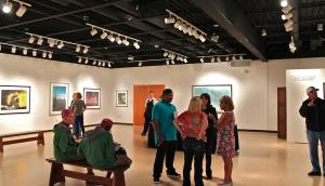 Salina Bowe photo: Viewers from campus and the community stopped in to the Cummings Art Gallery to view the artwork of Judith Brandon titled Edge to Edge. The gallery will be open through Sept. 28.
