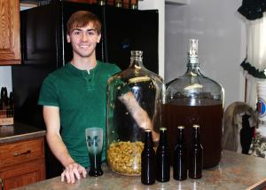 Sarah Hlusko photo: Spacht poses with lastest batch of the 'Hurst Pale Ale.