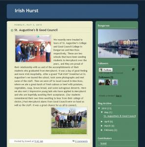 Dr. Reeds blog and links to his students' blogs can be foudn at: http://irishhurst.blogspot.com/