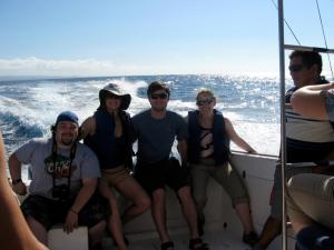 Junior John Veltre, '09 alumni Kaitlyn Hoover, senior Kyle Plante, junior Eve Klajbor headed to the Galapagos islands