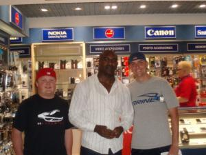 Contributed photo: Senior Mike Dugan and Matt Grogan met professional boxer Evander Holyfield during their layover at Frankfurt airtport.