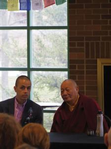 Zach Dorsch photo: Buddhist monk speaks to students about how everyone  can bring peace and harmony into the world.