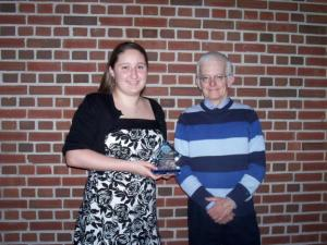Clemente and Dr. Williams when she received the Outstanding Freshman Chemistry Student Award last year.