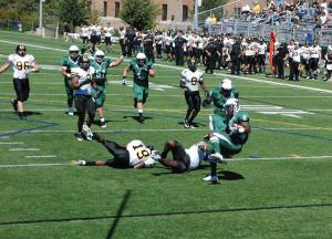 Jake Lowy photo: The football team defeated conference rival, Edinboro University at Tullio Field 19-6 on Nov 2. The win moved the Lakers to a 5-4 overall season record.