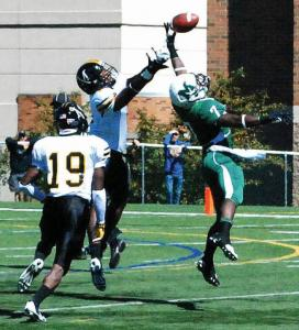 Jake Lowy photo: Vladmir Rock catches a pass during the game agianst Millersville this past Saturday, Sept. 14.
