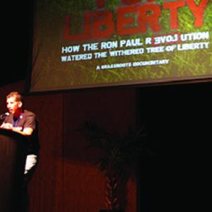 "Thomas Kubica: A Regional Coordinators from Pa. gives an introduction before the premiere of ""For Liberty"" at the Liberty convention earlier this month."