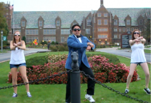 Contributed photo: Chelsey Starin, Erico Sanchez and Kellie Wendell dance in the music video in front of Old Main.