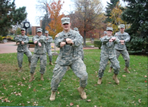 Contributed photo: ROTC members have fun dancing to Gangnam Style in the video.