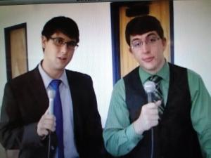 Contributed photo: Pezar (right) and junior Ryan Cherry create commentary for the show each week.