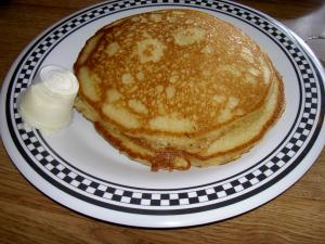 Dominick's offers three hot pancakes for only $3.50