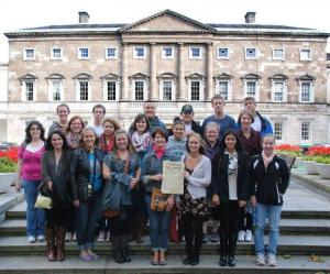 Contributed photo: Students pose for photo outside of the Irish Parliament during an educational trip.