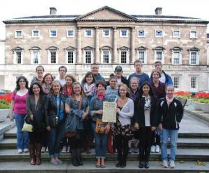 Contributed photo: Students from the 2012-13 fall Ireland trip pose outside of the Irish Parliament.