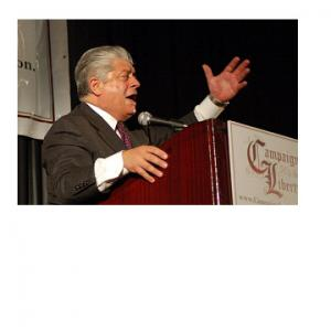 Thomas Kubica: Judge Napolitano speaks at campaign earlier this month at Liberty's Northeast Regional Conference.
