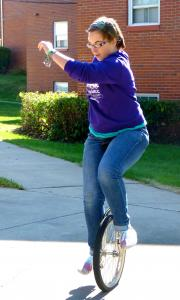 Sami Rapp photo: Michelle Ahrens takes a break from school by practicing her rather unique hobby — riding her unicycle.