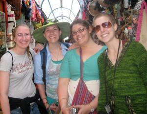 At a handicraft market in Quito: Juniors Jen Stevens and Eve Klajbor, sophomores Gillian Jones, and Rachel Brown