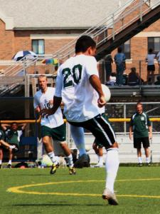 Jill Barrile photo: The men's soccer team has received significant contributions from a few familiar faces, along with some new ones. Senior Billy Colton, left, leads the team with 10 goals, while freshman Fernando Martinez, right, is third with four goals.