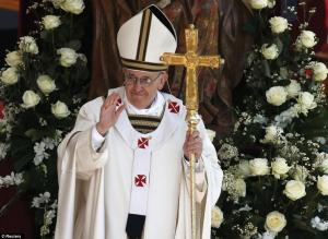 dailymail.co.uk photo: Pope Francis graces the public at his inauguration Mass at the Vatican.