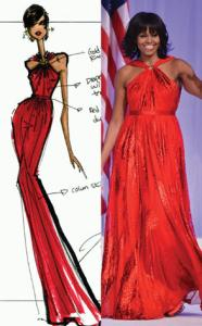 enonline.com photo: Jason Wu's sketch became a reality when the First Lady picked his design to wear to the Inaugural Ball.